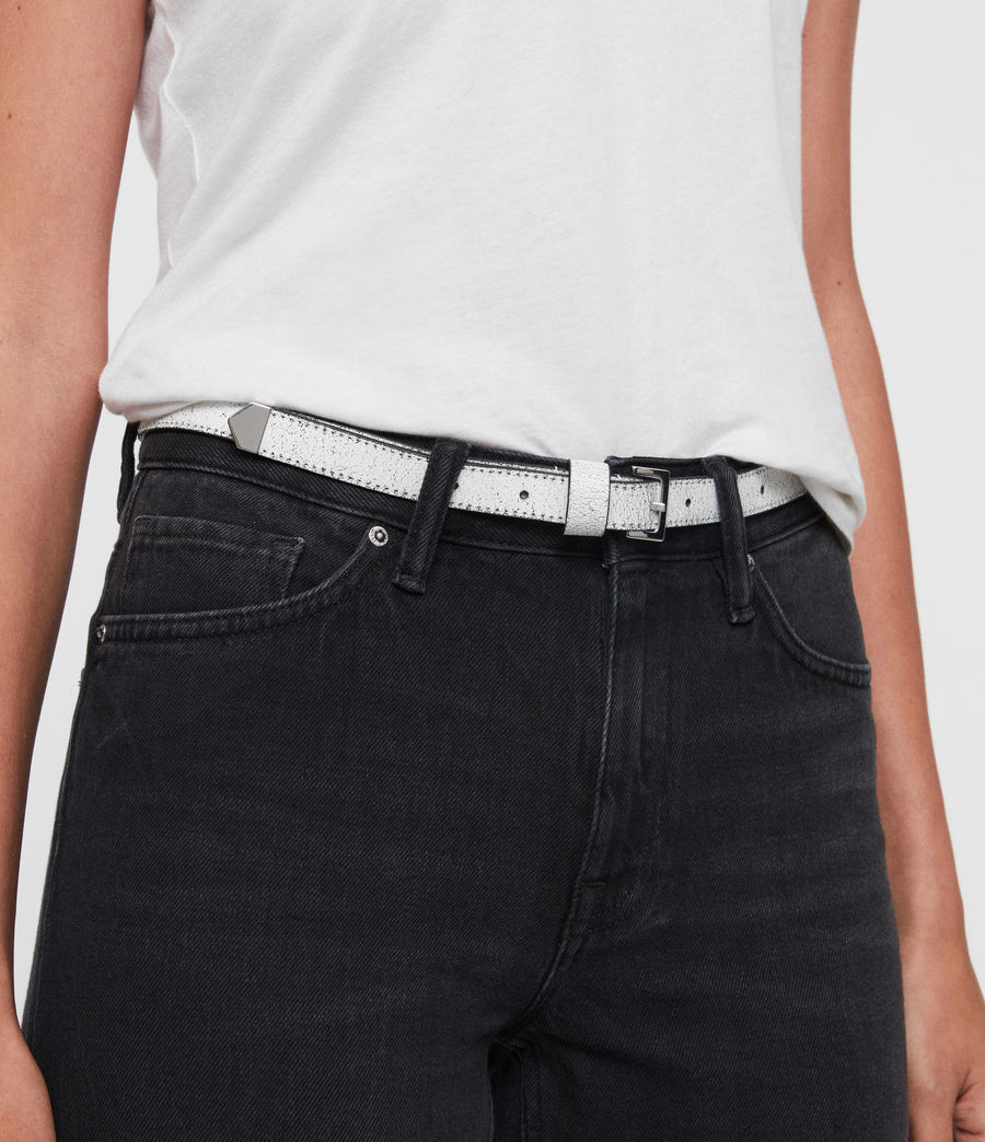 Womens Pipi Leather Belt (white) - Image 6
