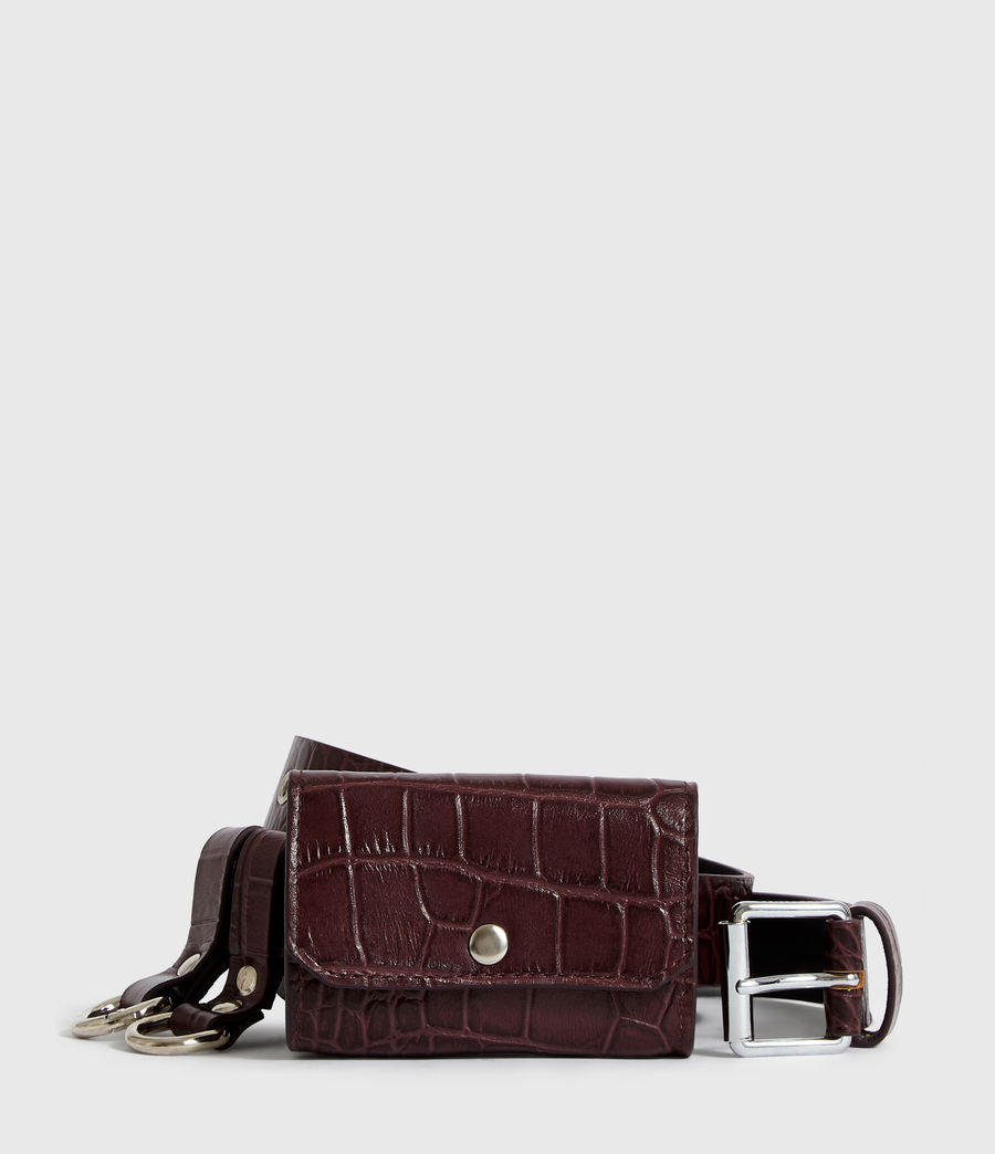 Womens Agnes Leather Belt (bordeaux_red) - Image 1