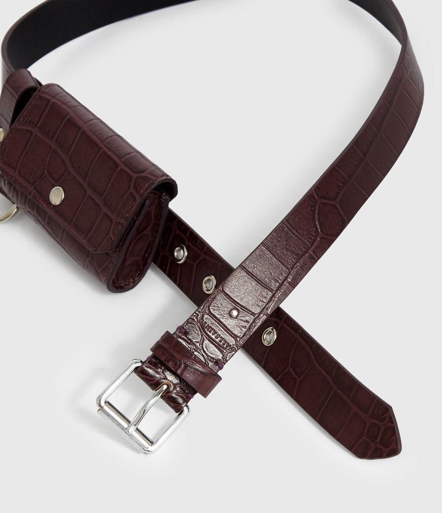 Womens Agnes Leather Belt (bordeaux_red) - Image 3