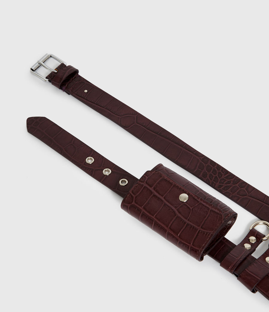 Womens Agnes Leather Belt (bordeaux_red) - Image 4