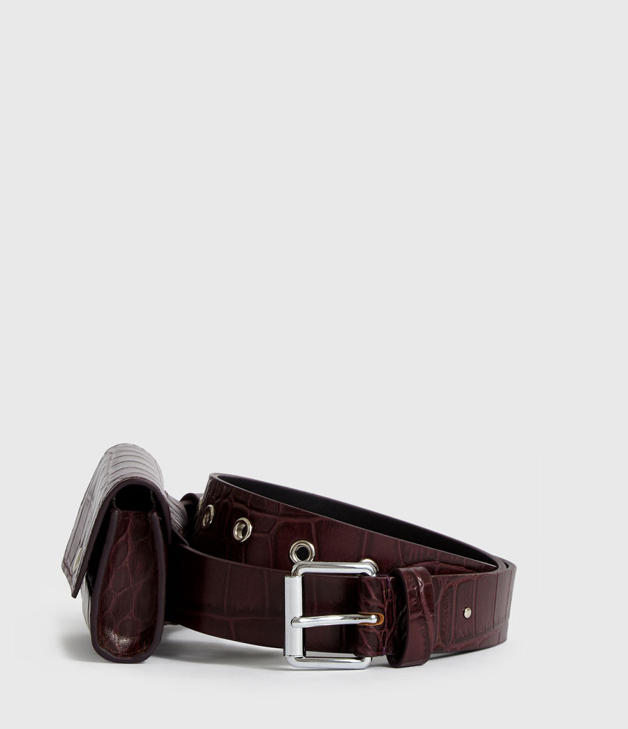 Womens Agnes Leather Belt (bordeaux_red) - Image 5