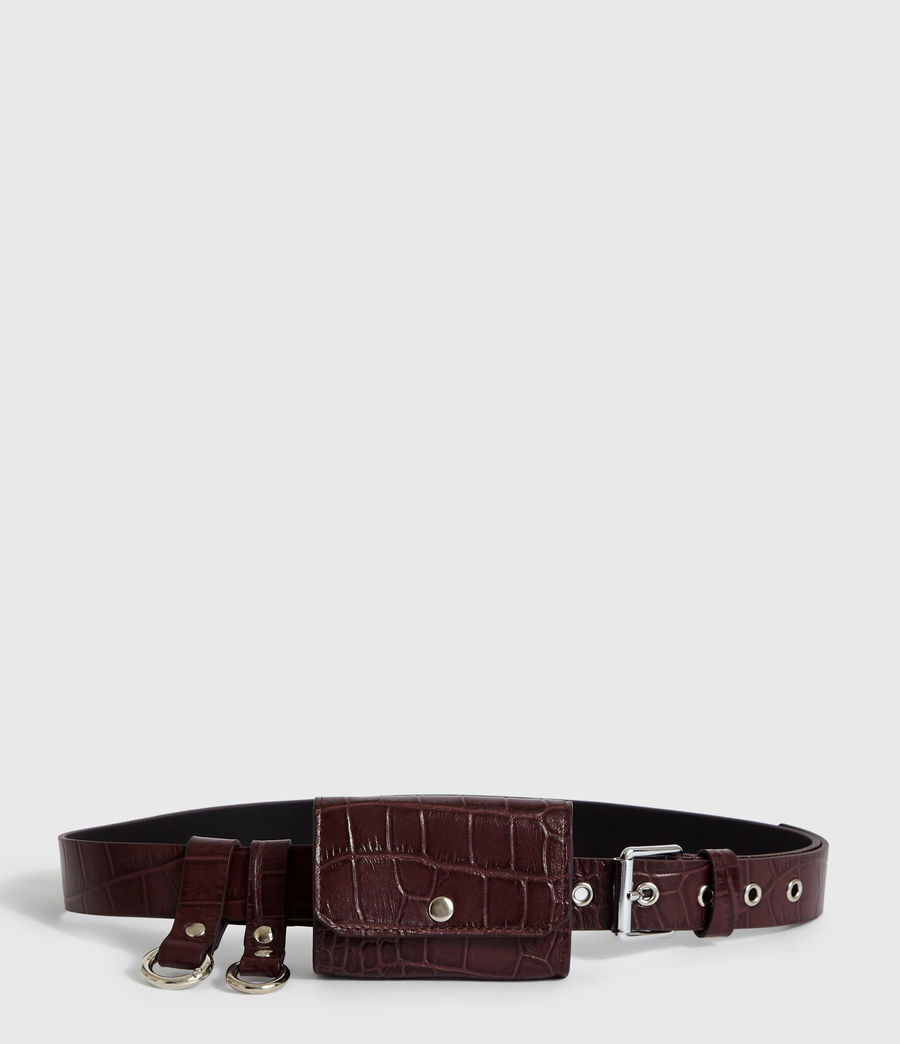 Womens Agnes Leather Belt (bordeaux_red) - Image 6