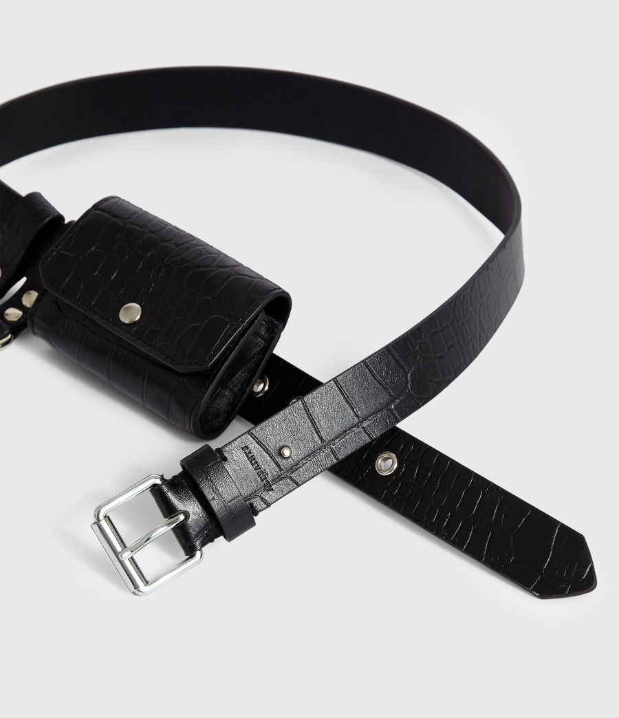 Women's Agnes Leather Belt (black) - Image 3
