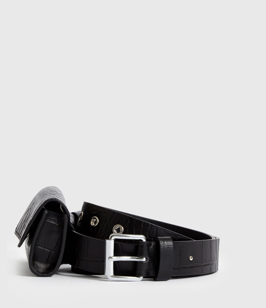 Womens Agnes Leather Belt (black) - Image 4