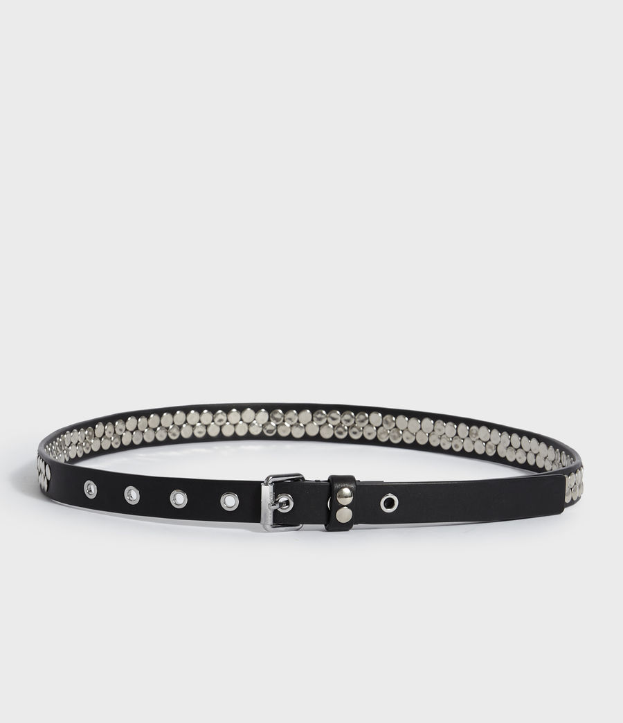 Womens Francoise Leather Belt (black) - Image 5