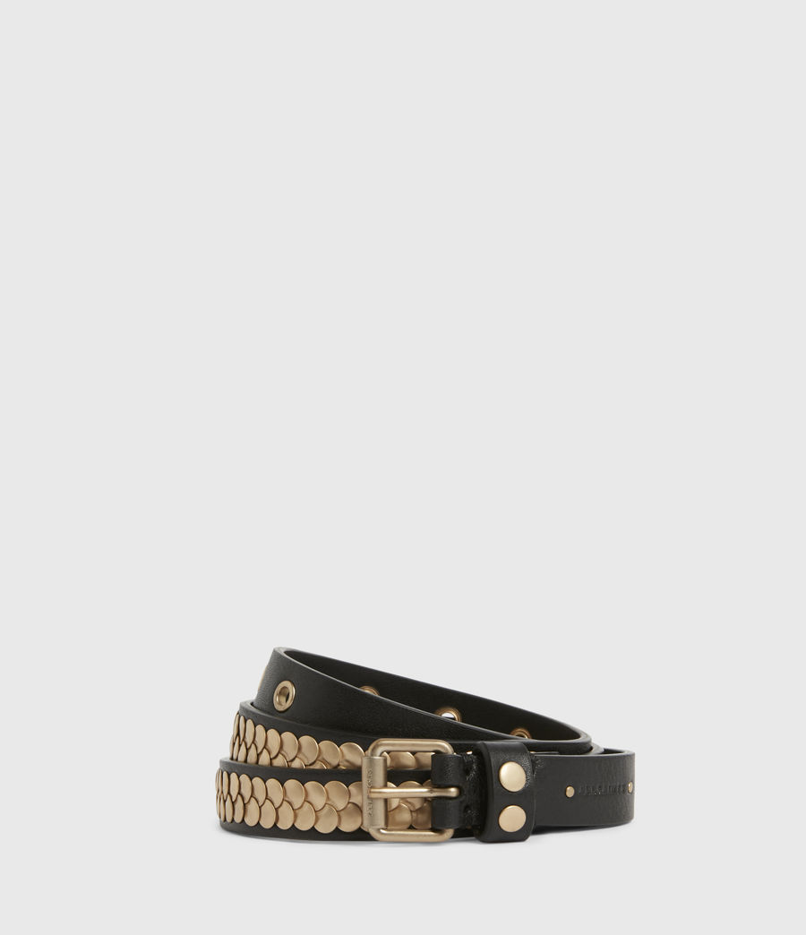 Womens Francoise Skinny Leather Belt (black_gold) - Image 1