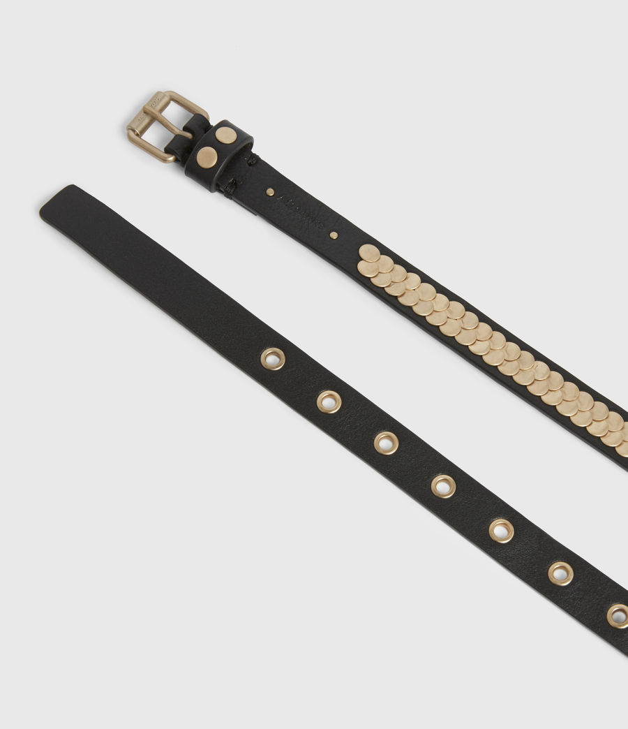 Womens Francoise Skinny Leather Belt (black_gold) - Image 2