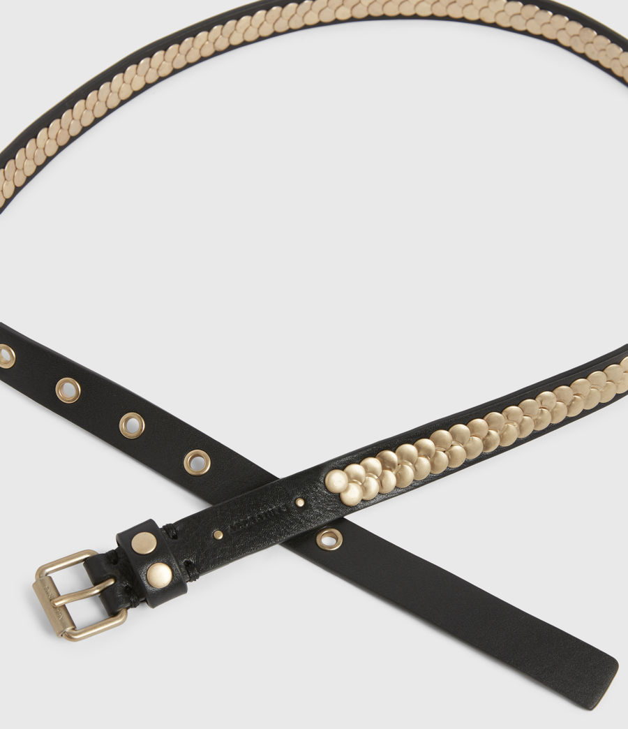 Womens Francoise Skinny Leather Belt (black_gold) - Image 3
