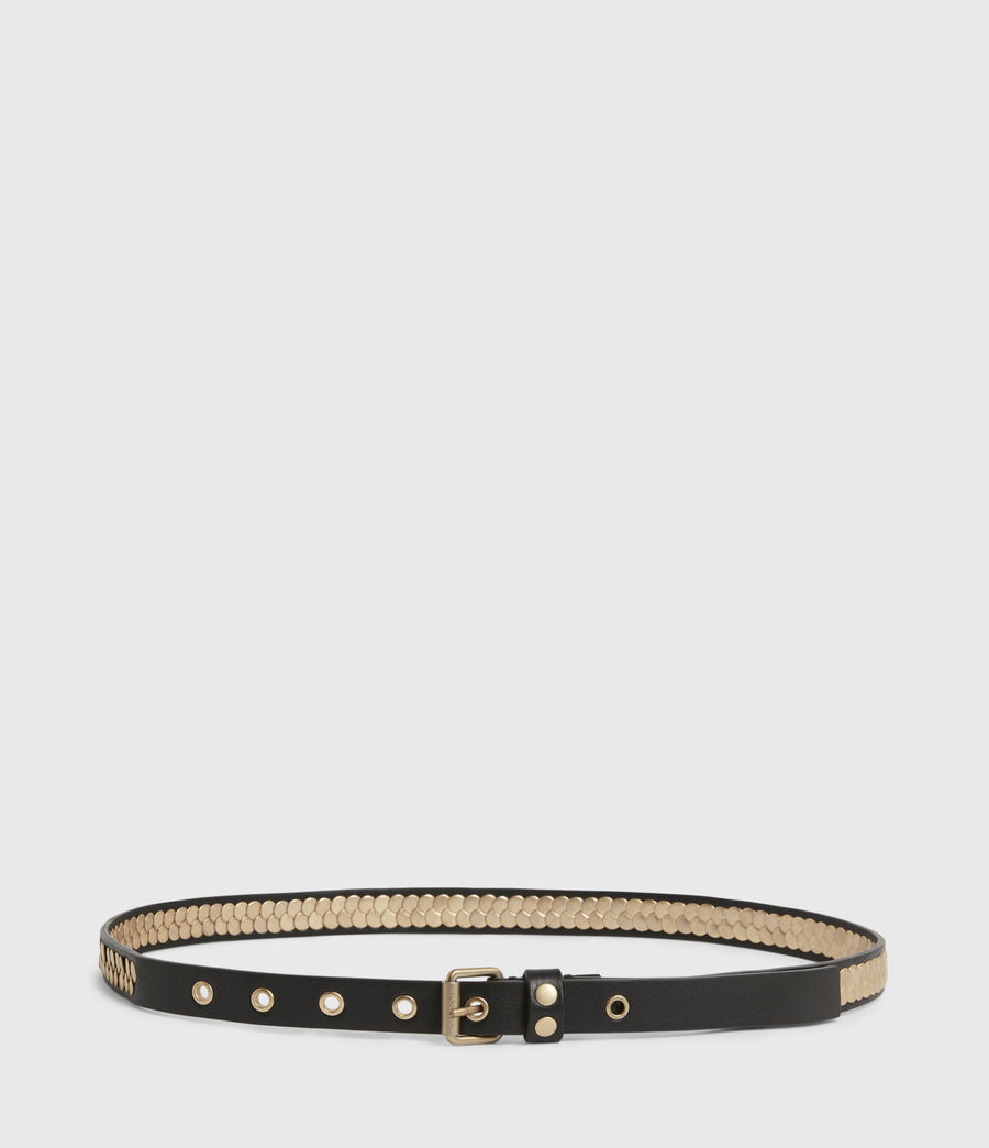 Womens Francoise Skinny Leather Belt (black_gold) - Image 4