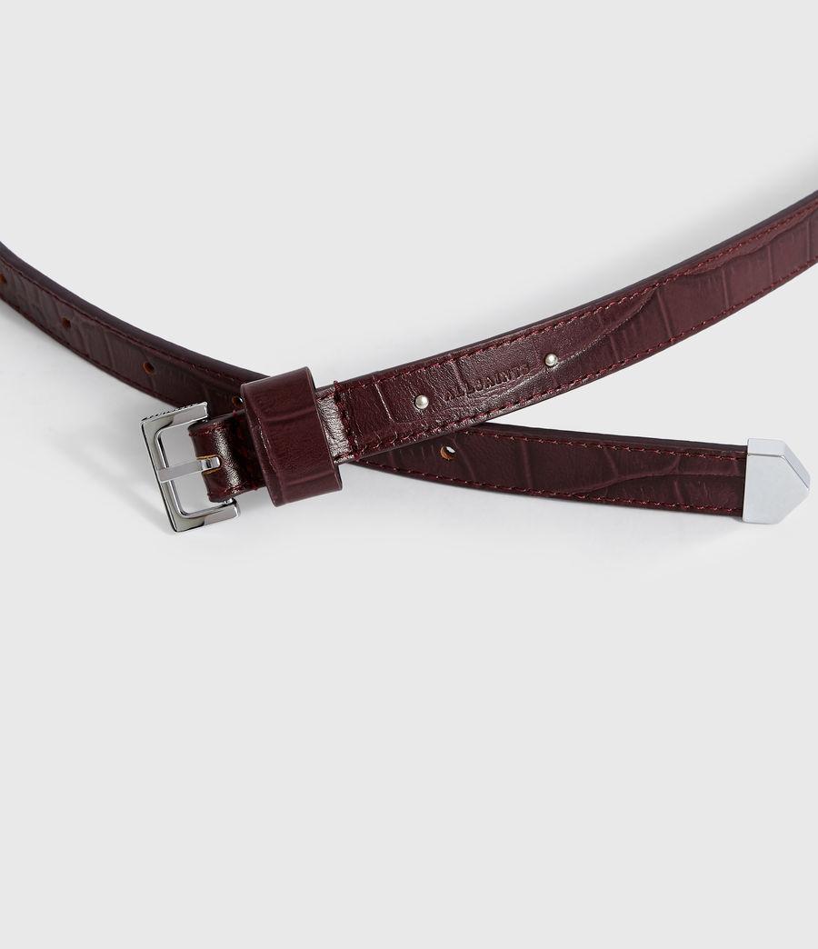 Women's Pipi Crocodile Leather Belt (bordeaux_red) - Image 3