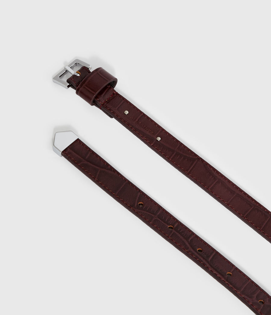 Women's Pipi Crocodile Leather Belt (bordeaux_red) - Image 4