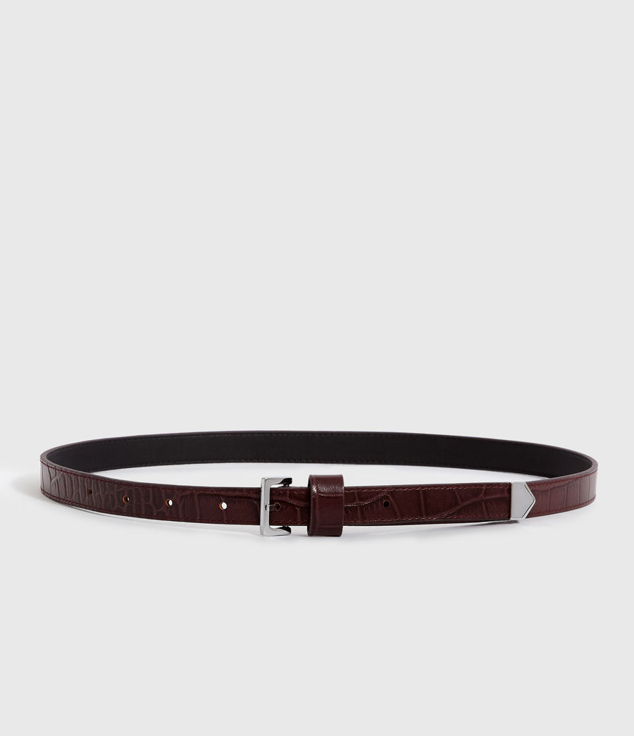 Women's Pipi Crocodile Leather Belt (bordeaux_red) - Image 5