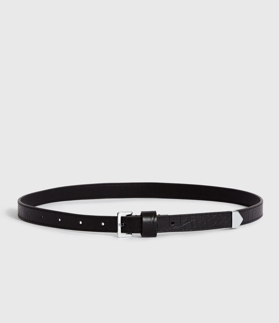 Womens Pipi Crocodile Leather Belt (black) - Image 4