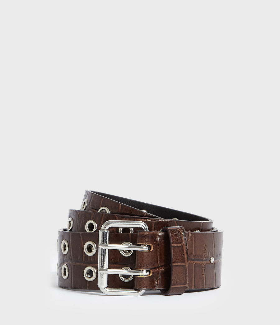 Womens Andree Crocodile Leather Belt (cognac) - Image 1