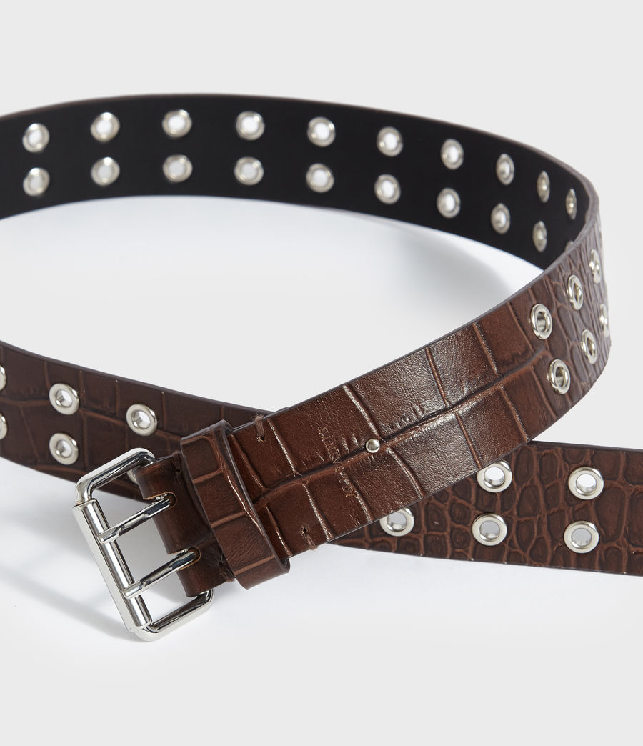 Womens Andree Crocodile Leather Belt (cognac) - Image 3
