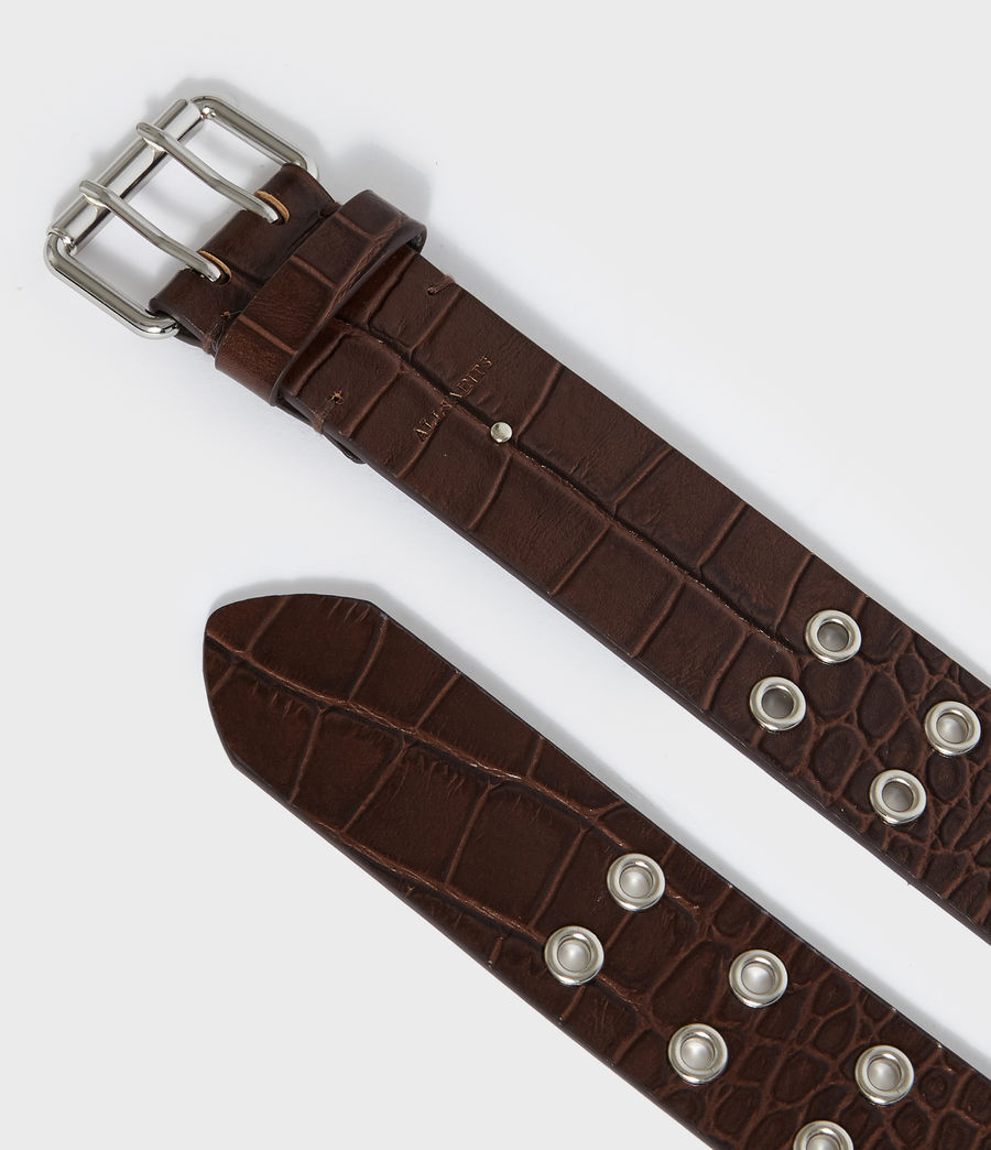 Womens Andree Crocodile Leather Belt (cognac) - Image 4
