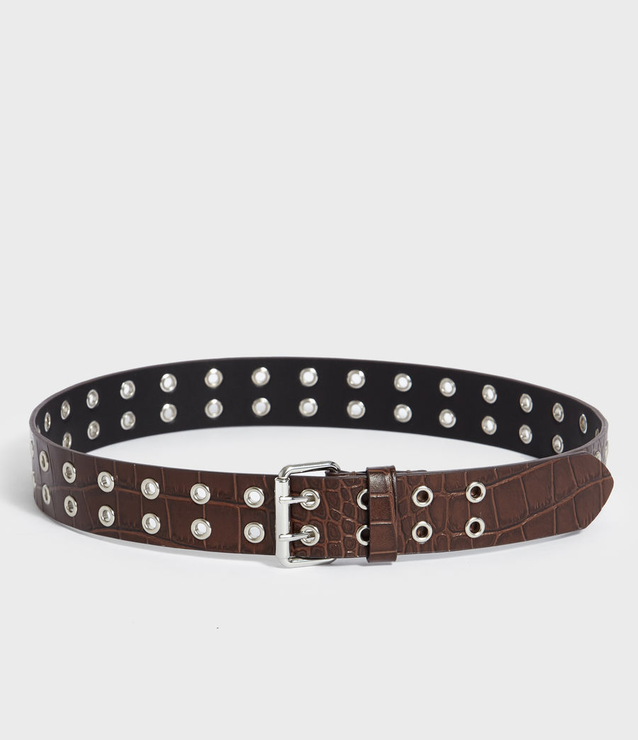 Womens Andree Crocodile Leather Belt (cognac) - Image 5