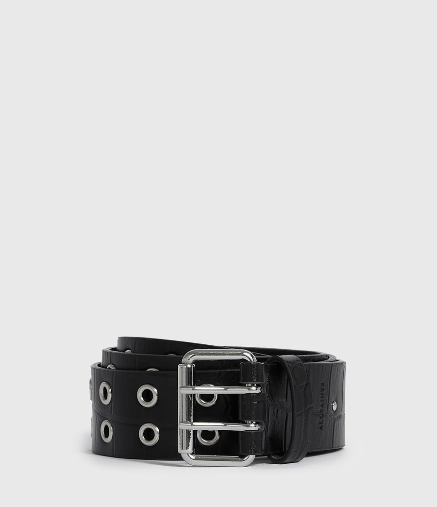 Women's Andree Crocodile Leather Belt (black) - Image 1