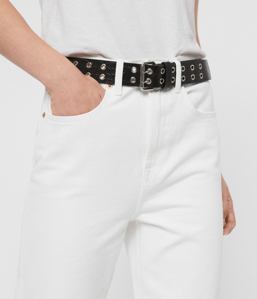 Womens Andree Crocodile Leather Belt (black) - Image 6