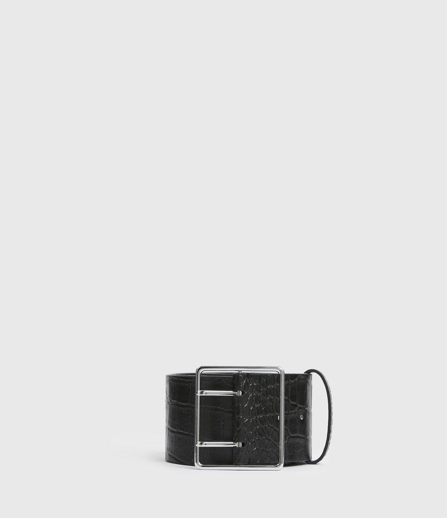 Womens Aline Leather Croco Belt (black) - Image 1