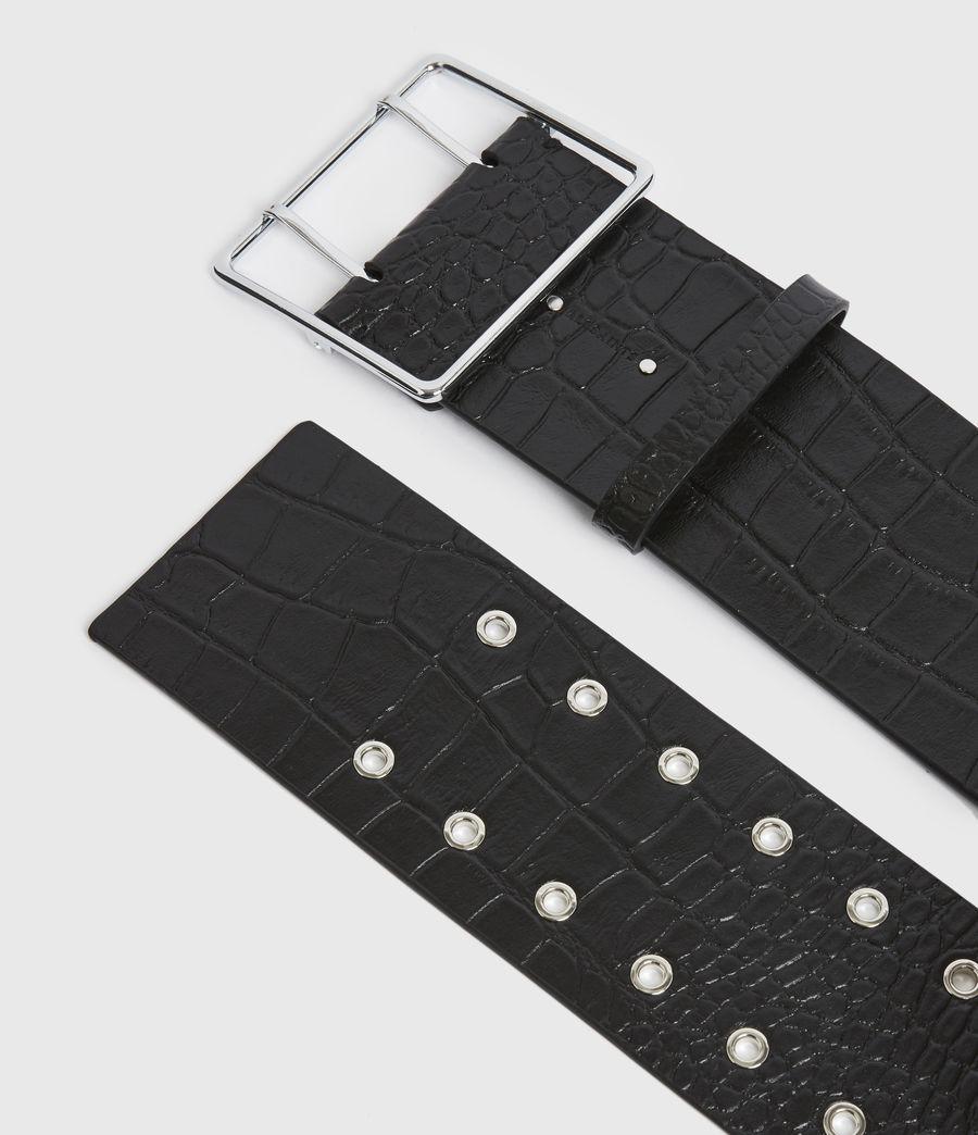 Womens Aline Leather Croco Belt (black) - Image 2