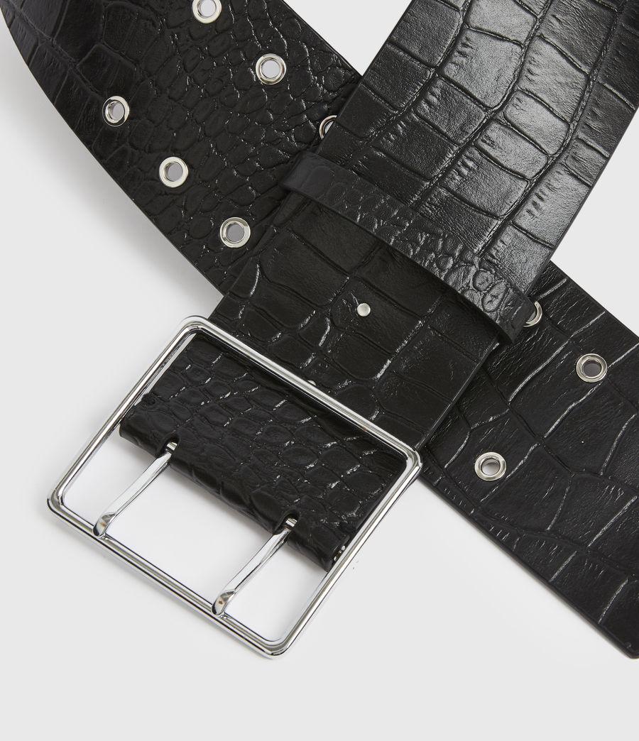 Womens Aline Leather Croco Belt (black) - Image 3