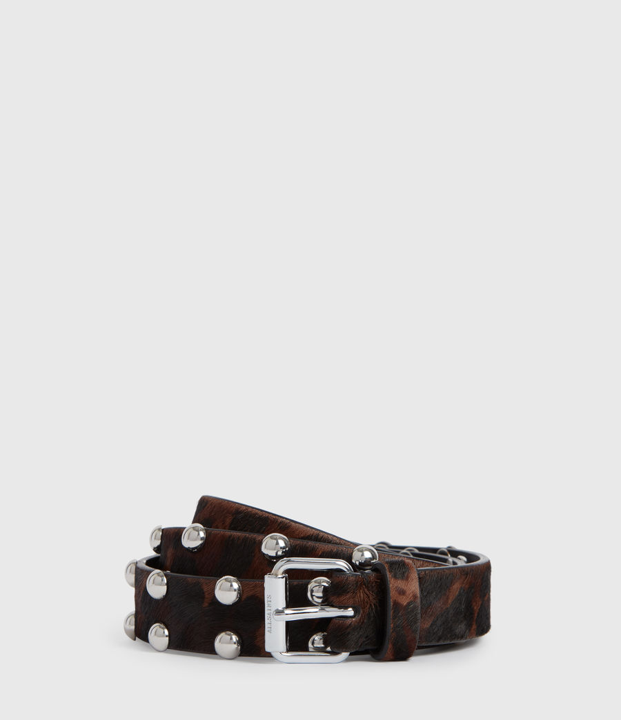 Women's Canis Leopard Leather Belt (leopard_brown) - Image 2