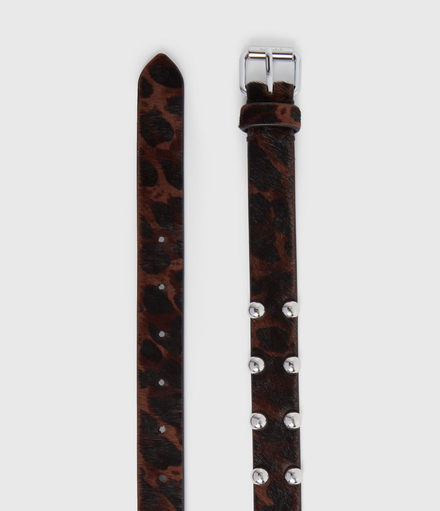 Women's Canis Leopard Leather Belt (leopard_brown) - Image 3