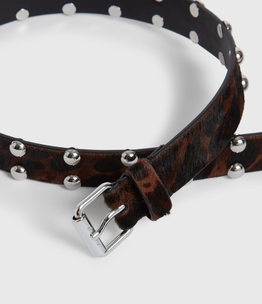 Women's Canis Leopard Leather Belt (leopard_brown) - Image 4