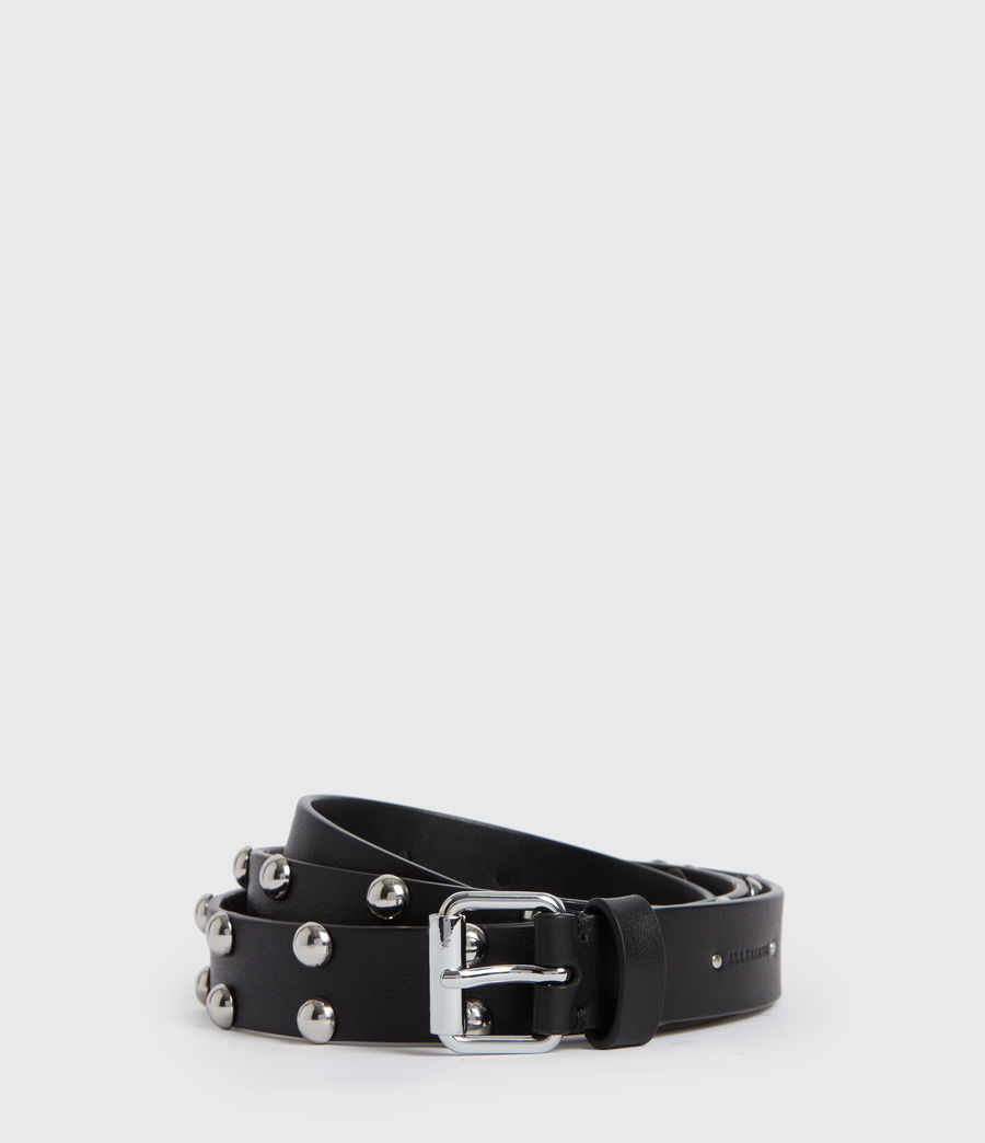 Womens Canis Leather Belt (black) - Image 1