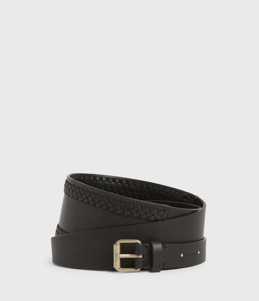 Women's Lily Leather Belt (black_warm_brass) - Image 1