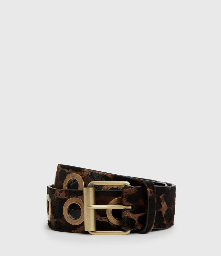 Women's Dani Leopard Leather Belt (leopard_brown) - Image 2
