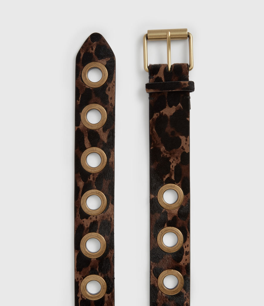 Women's Dani Leopard Leather Belt (leopard_brown) - Image 3