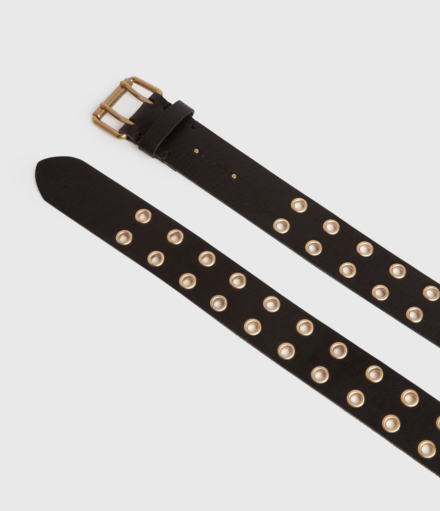Women's Iryna Leather Belt (black_gold) - Image 4