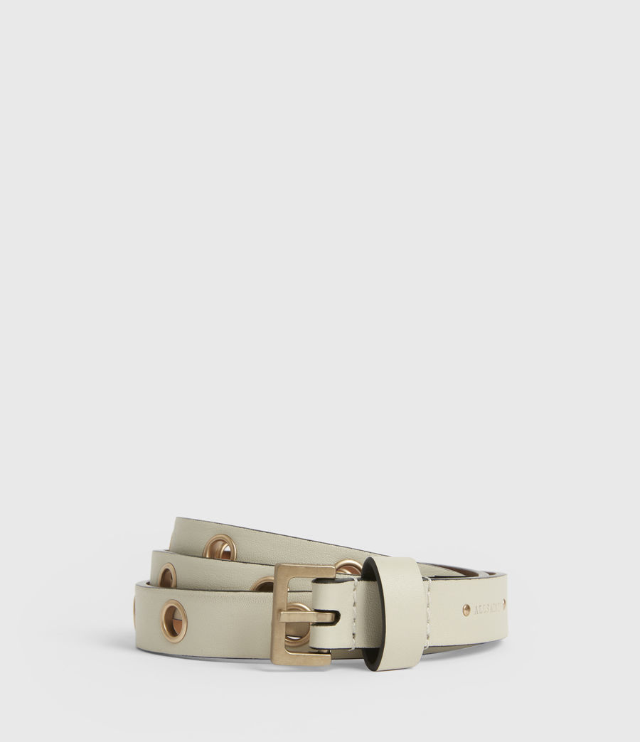 Womens Kristin Leather Belt (off_white) - Image 1