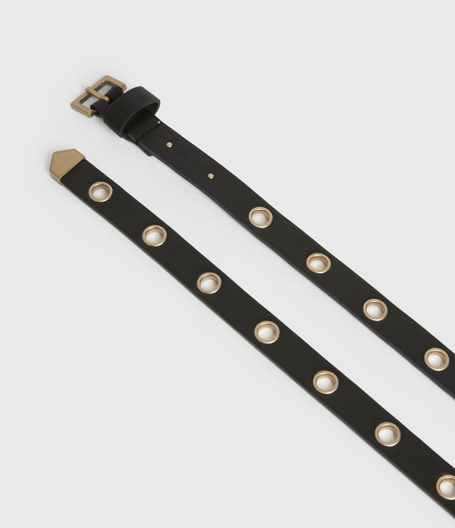 Womens Kristin Leather Belt (black) - Image 3