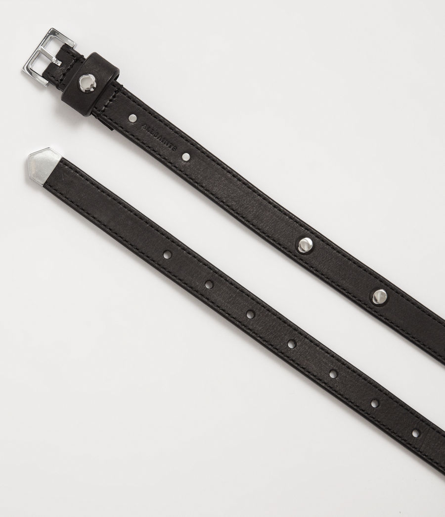 Women's Aimee Leather Belt (black) - Image 3