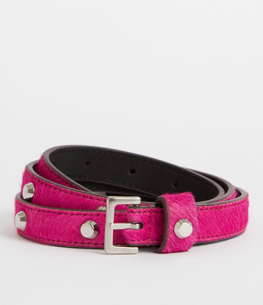 Womens Aimee Leather Belt (fuschia_pink) - Image 1