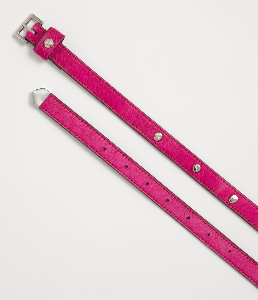 Womens Aimee Leather Belt (fuschia_pink) - Image 3