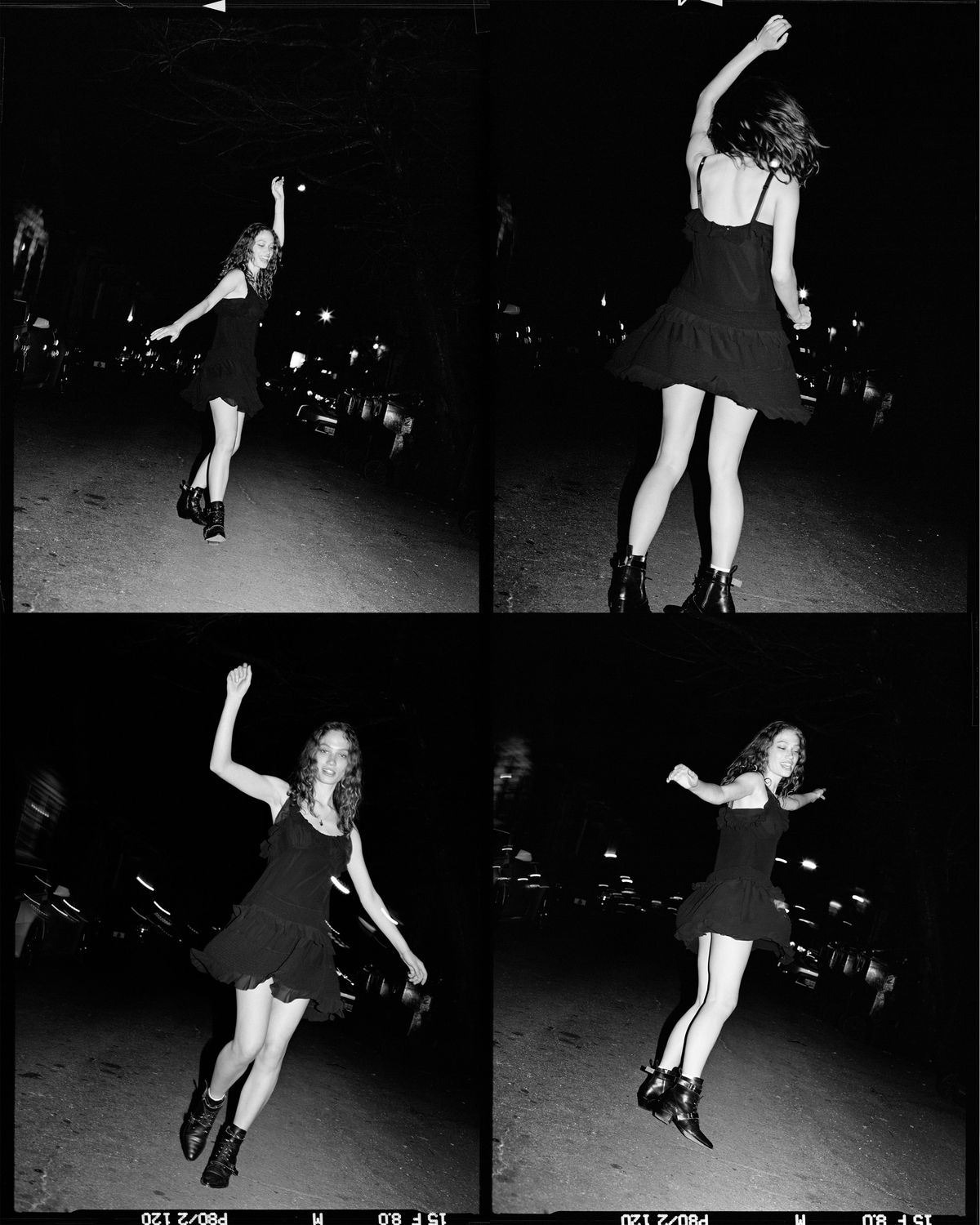 A black-and-white photograph of a young woman dancing in the streets at night, wearing a short black dress from our latest summer collection.