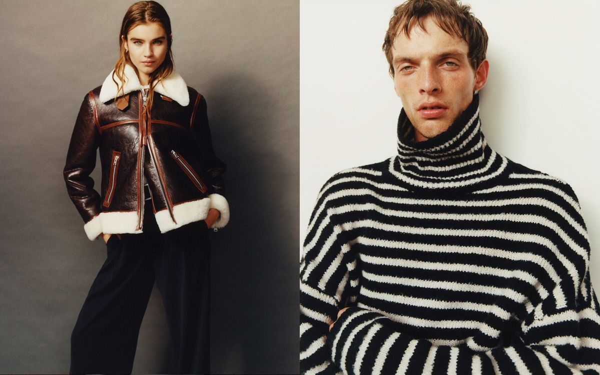 Two portraits of a woman and a man wearing outfits from our latest collection.