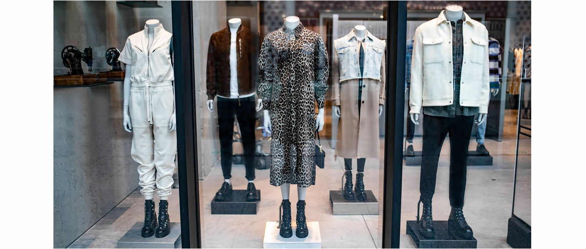 Mannequins dressed up with our menswear and womenswear new collections.