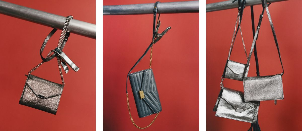 Three images of some of our new crossbody bags hanging in front of a red background.