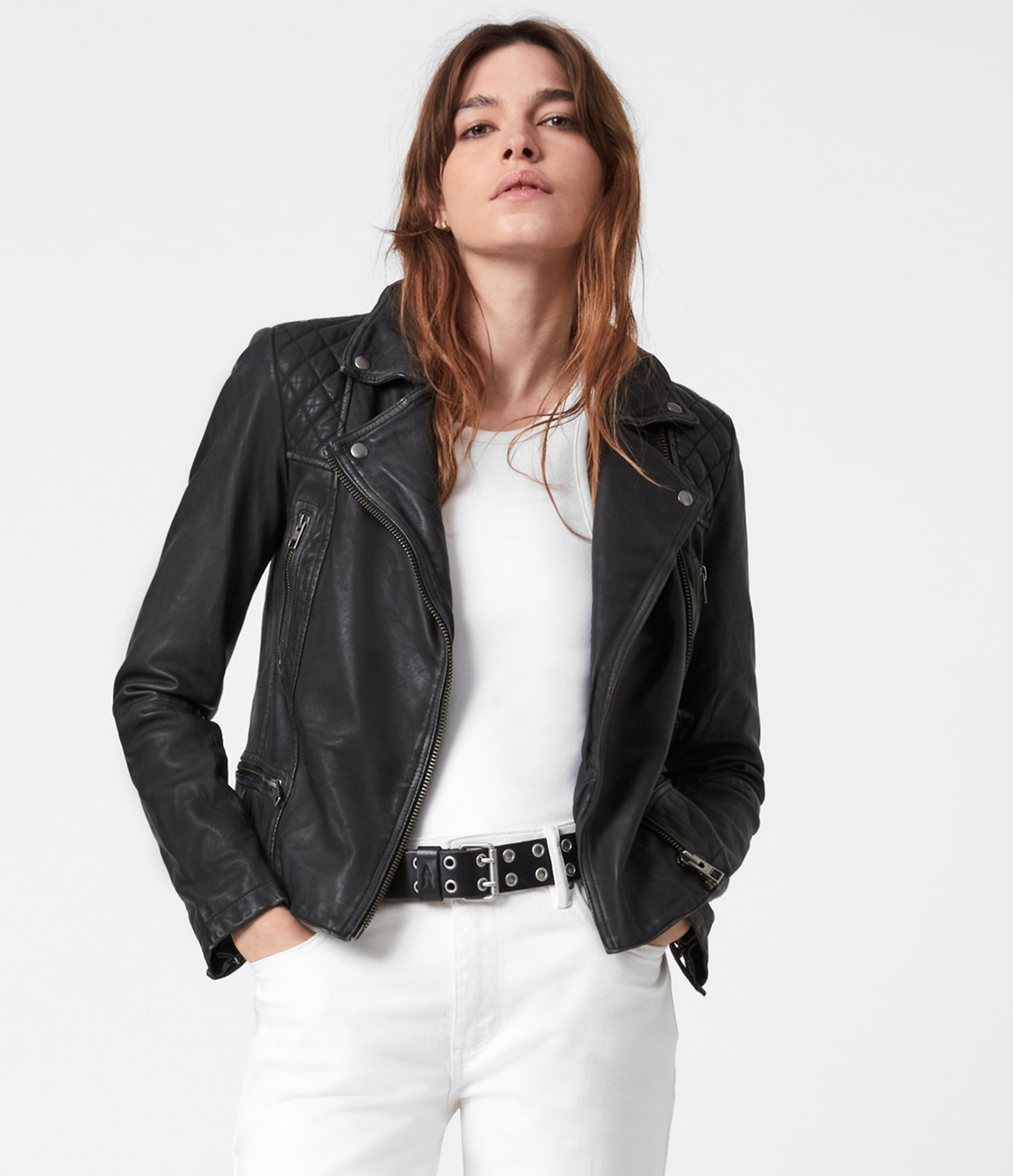 Women's Cargo Leather Jacket - Front View