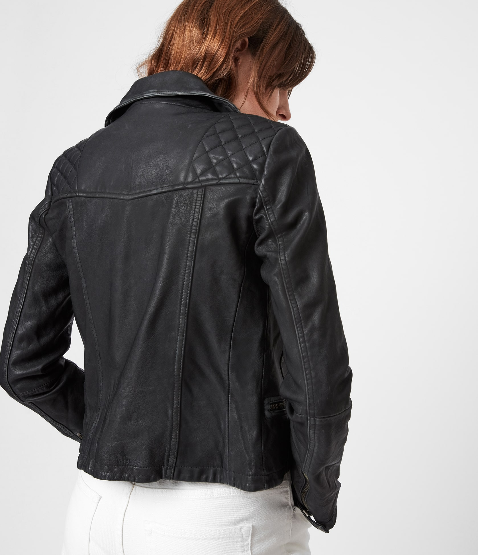 Women's Cargo Leather Jacket - Back View