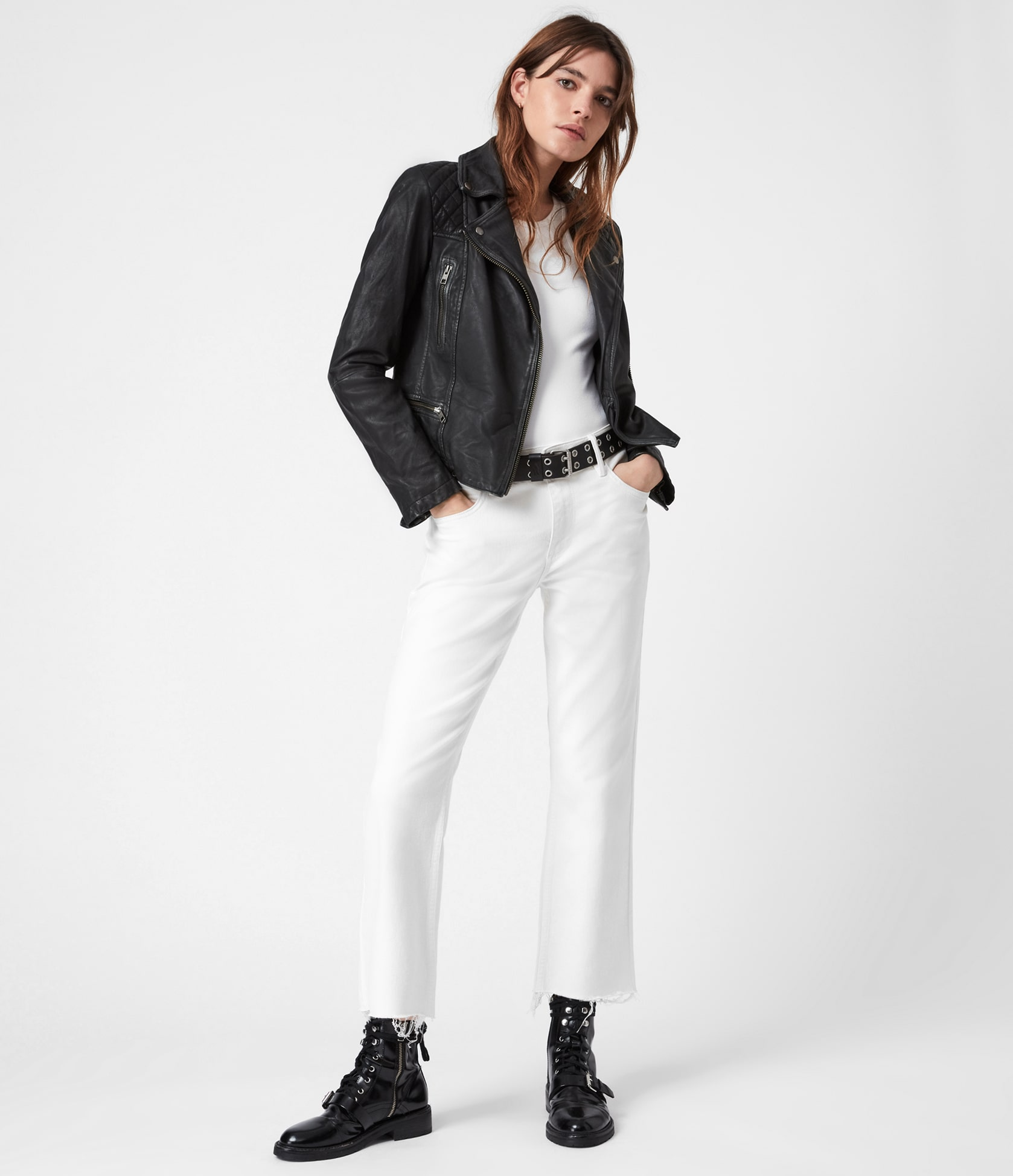Women's Cargo Leather Jacket - Outfit Front View