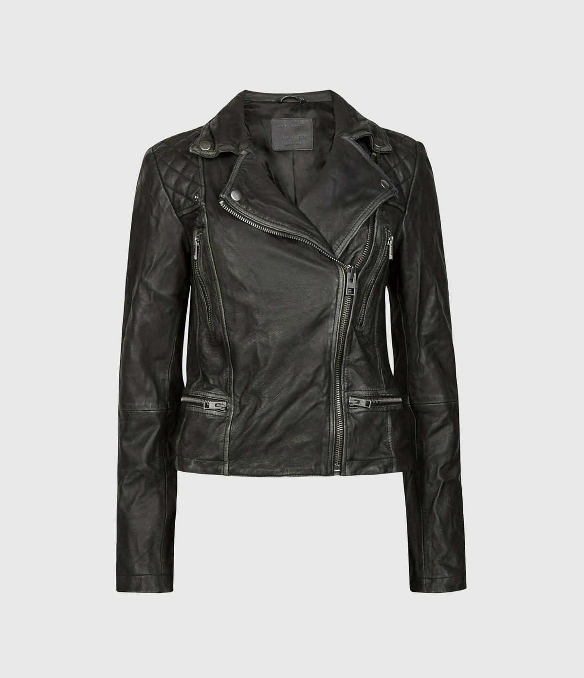 Women's Cargo Leather Jacket - Hover for Measurements