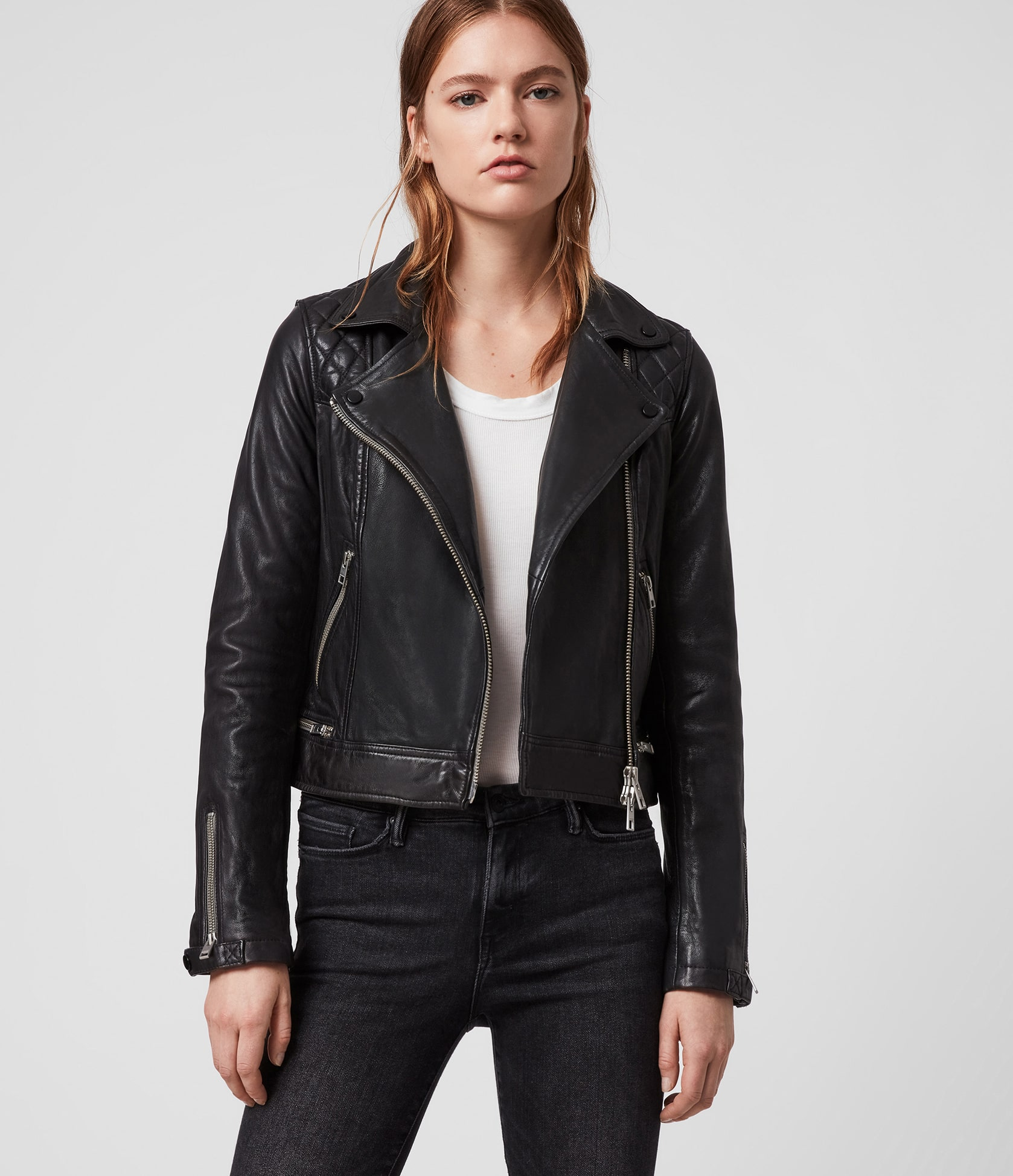 Women's Conroy Leather Jacket - Front View