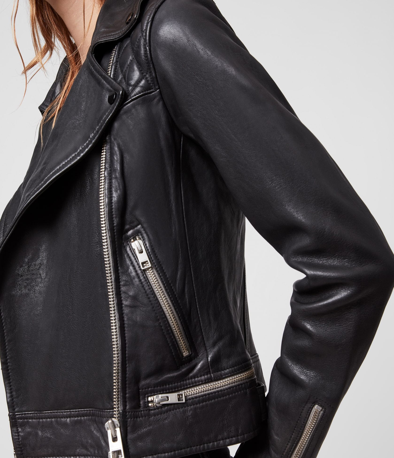 Women's Conroy Leather Jacket - Side View
