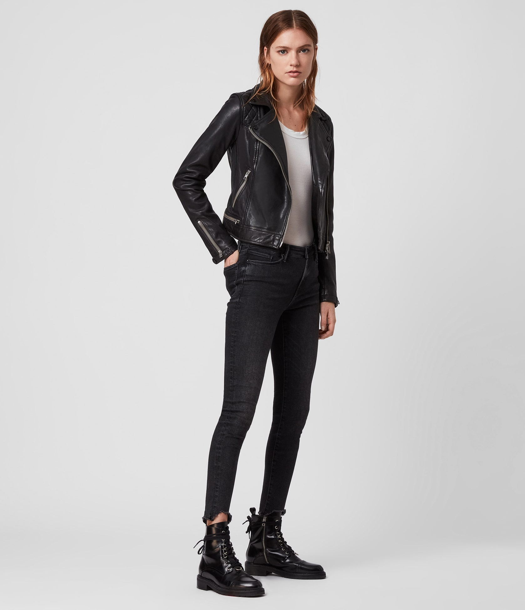 Women's Conroy Leather Jacket - Outfit Front View